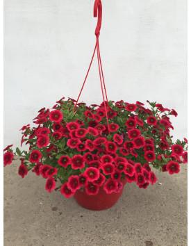 Кашпо 23 см подвесное  для цветов 4,3 литра красное Украина